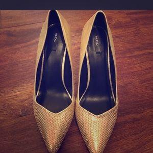 Aldo gold sparkle heels